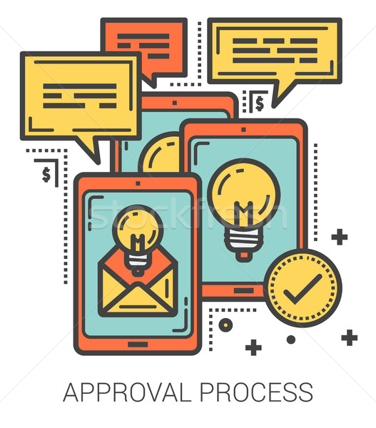 Approval process line infographic. Stock photo © RAStudio