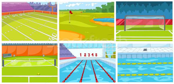 Cartoon set of backgrounds - sport infrastructure Stock photo © RAStudio