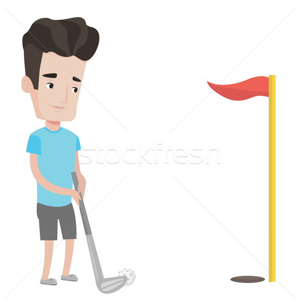Golfer bal jonge gat Rood vlag Stockfoto © RAStudio