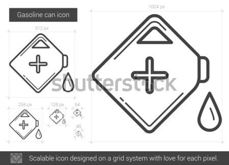 Stock fotó: Gázolaj · konzerv · vonal · ikon · vektor · izolált