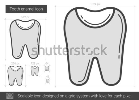 歯 エナメル 行 アイコン ベクトル 孤立した ストックフォト © RAStudio