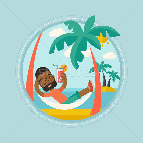 Man chilling in hammock vector illustration. Stock photo © RAStudio