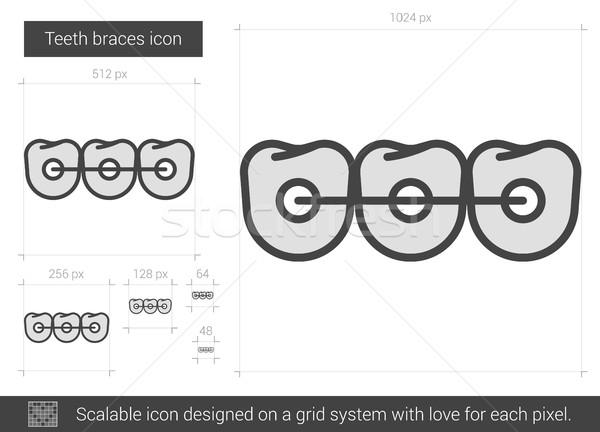 Tanden bretels lijn icon vector geïsoleerd Stockfoto © RAStudio