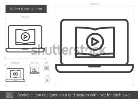 Video tutorial line icon. Stock photo © RAStudio