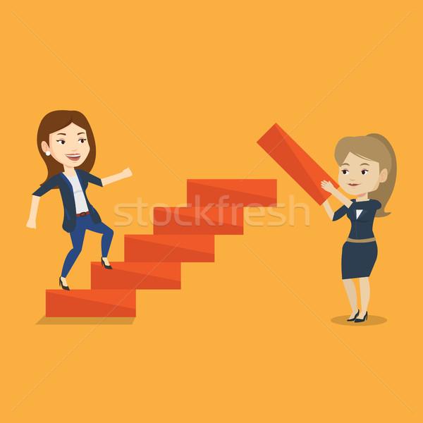 деловой женщины вверх карьеру лестнице другой женщину Сток-фото © RAStudio