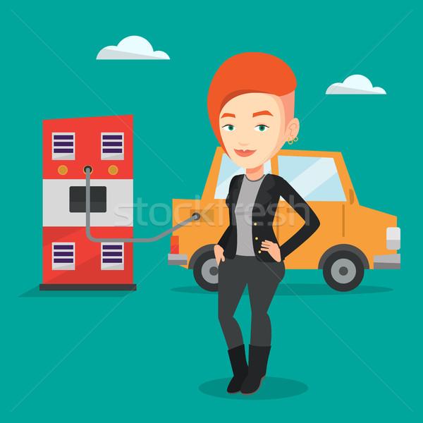 Charging of electric car vector illustration. Stock photo © RAStudio