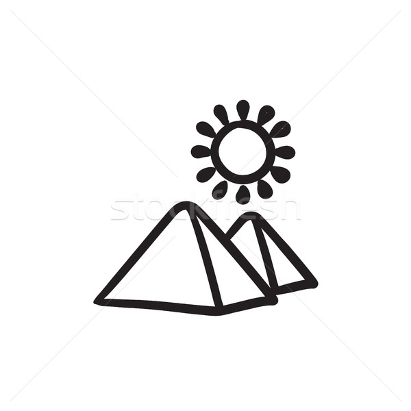 Stock photo: Egyptian pyramids sketch icon.