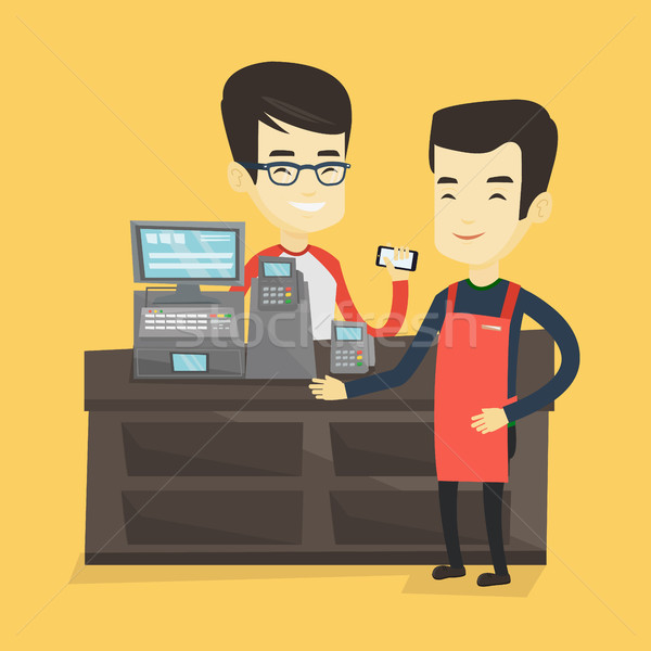 Customer paying wireless with smartphone. Stock photo © RAStudio