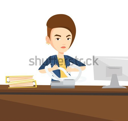 Angry business man tearing bills or invoices. Stock photo © RAStudio