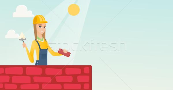каменщик рабочих кирпичных кавказский строительная площадка Сток-фото © RAStudio