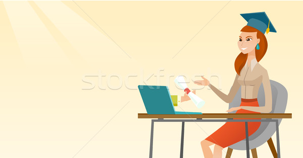 Stock photo: Graduate getting diploma from the computer.