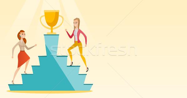 üzletasszonyok versenyző üzlet díj kettő kaukázusi Stock fotó © RAStudio