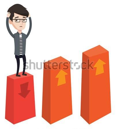 Wykres w dół przestraszony biznesmen głowie Zdjęcia stock © RAStudio