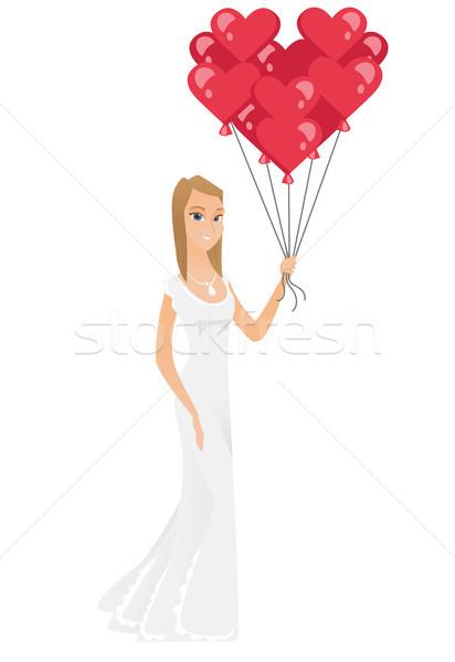 Bruid bos Rood ballonnen kaukasisch gelukkig Stockfoto © RAStudio