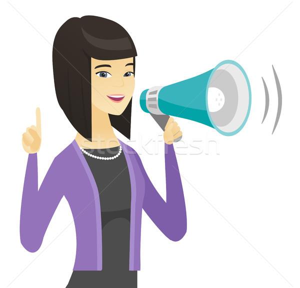 Asian femme d'affaires parler haut-parleur jeunes Photo stock © RAStudio
