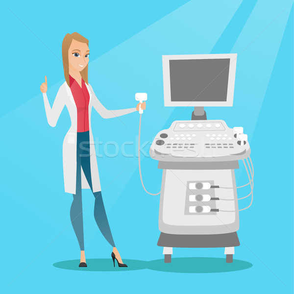 Young ultrasound doctor vector illustration. Stock photo © RAStudio