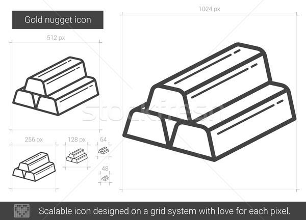 Gold nugget line icon. Stock photo © RAStudio