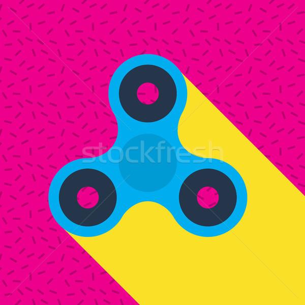 Fidget spinner Memphis style vector icon. Stock photo © RAStudio