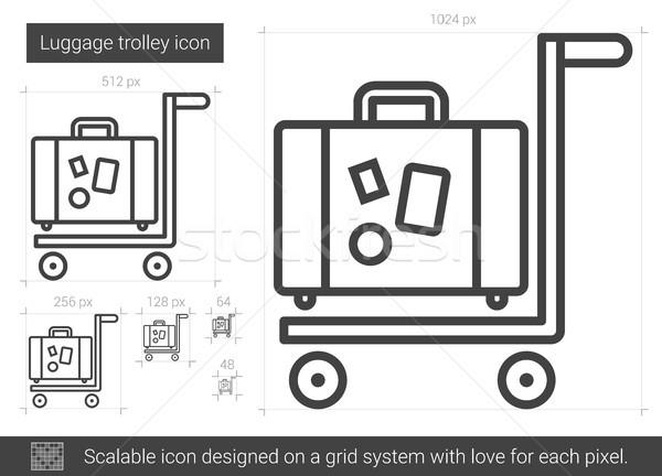 Bagażu line ikona wektora odizolowany biały Zdjęcia stock © RAStudio