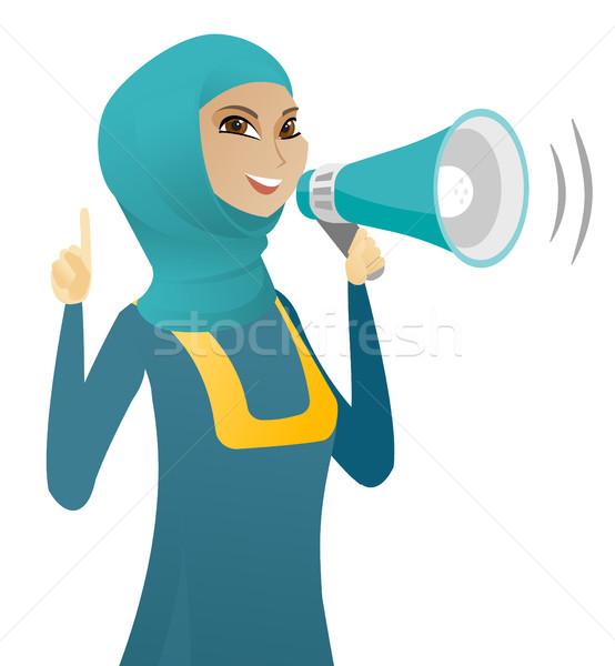 Muszlim üzletasszony beszél hangfal készít közlemény Stock fotó © RAStudio