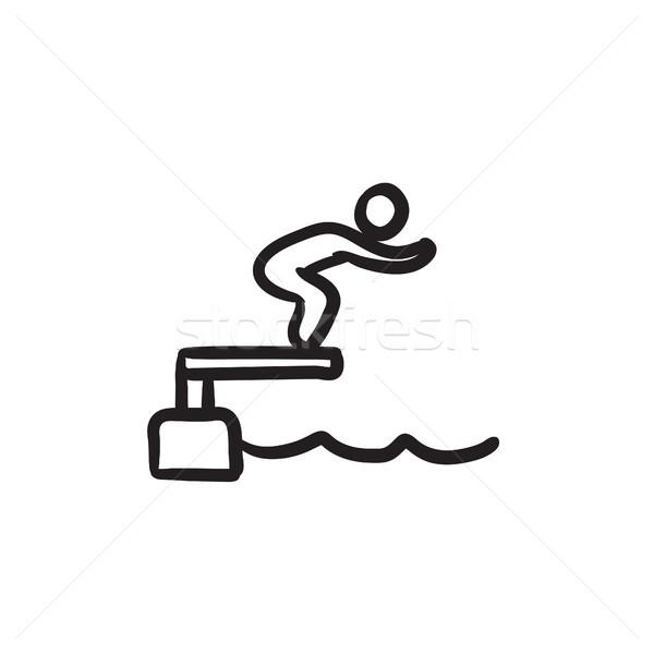 スイマー ジャンプ プール スケッチ アイコン ベクトル ストックフォト © RAStudio