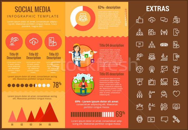 Social media infographic template, elements, icons Stock photo © RAStudio