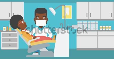 врач прикасаться живот мужчины пациент женщины Сток-фото © RAStudio