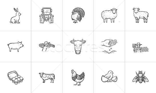 Boerderijdieren schets web mobiele Stockfoto © RAStudio