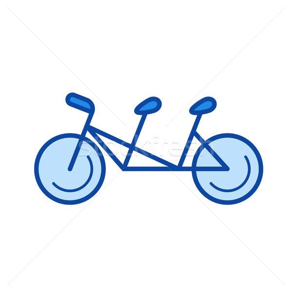 Stock photo: Tandem bicycle line icon.