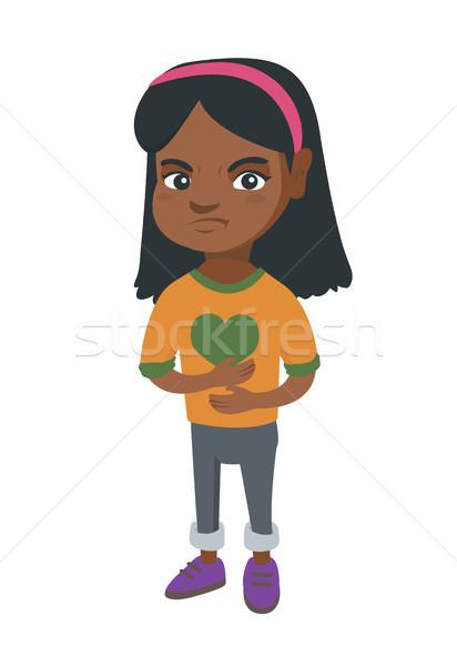 Triste menina dor de estômago africano little girl tocante Foto stock © RAStudio
