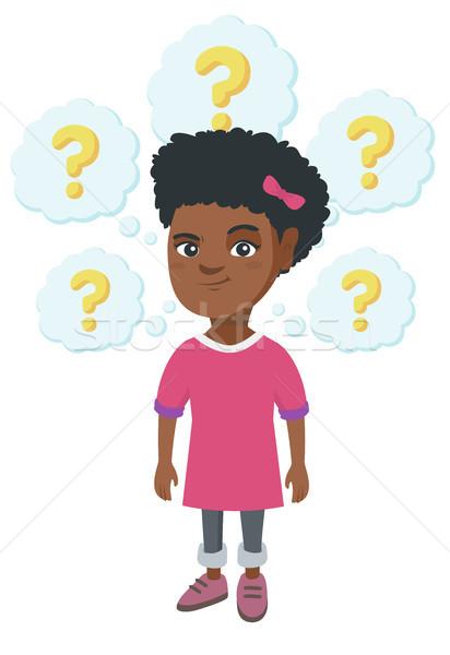 Gondolkodik lány kérdőjelek figyelmes kislány áll Stock fotó © RAStudio
