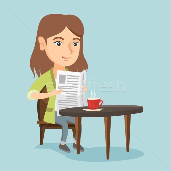 Woman reading a newspaper and drinking coffee. Stock photo © RAStudio