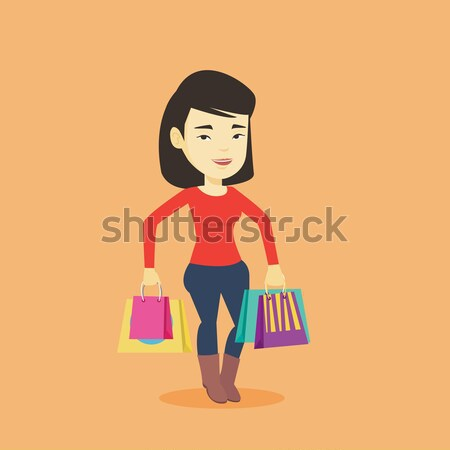 Happy woman with shopping bags vector illustration Stock photo © RAStudio