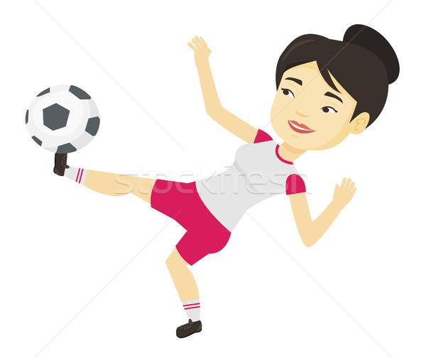 Zdjęcia stock: Piłkarz · piłka · młodych · asian · gry