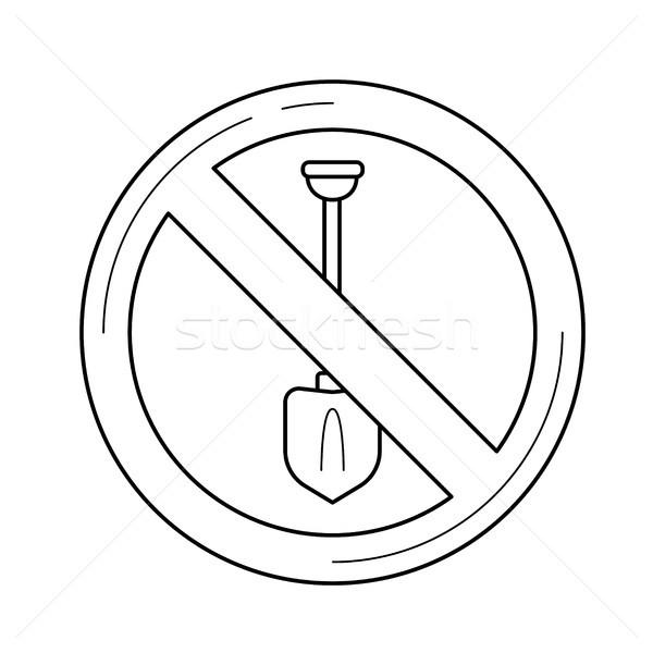 Digging forbidden sign vector line icon. Stock photo © RAStudio