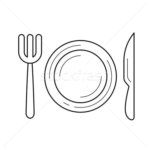 Stock fotó: étterem · vonal · ikon · vektor · izolált · fehér
