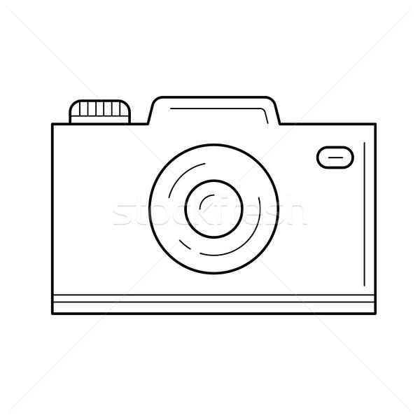 Foto d'archivio: Vacanze · fotocamera · line · icona · isolato · bianco