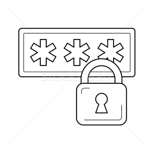 Photo stock: S'identifier · sécurité · ligne · icône · vecteur · isolé