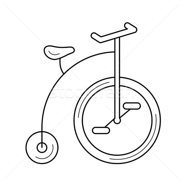 Old bicycle line icon. Stock photo © RAStudio