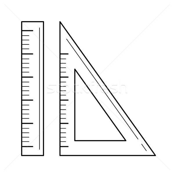 Władcy rozmiar środka wektora line ikona Zdjęcia stock © RAStudio