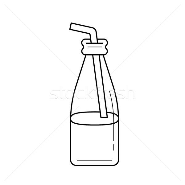 ガラス ボトル わら 行 アイコン ベクトル ストックフォト © RAStudio