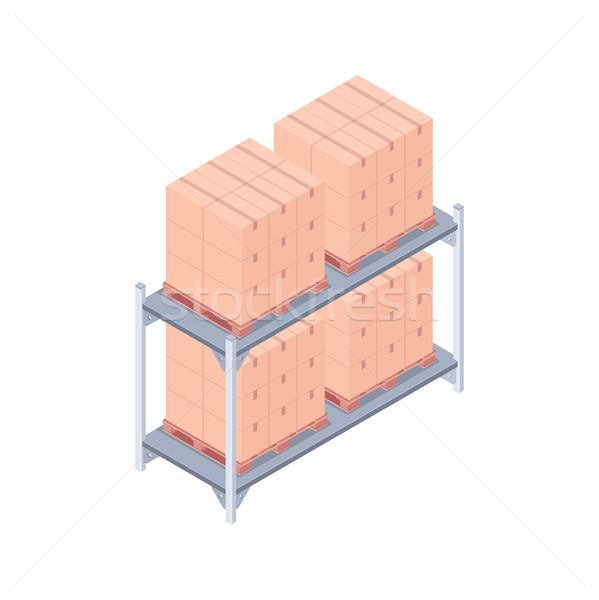 Fogas izometrikus dobozok fém fából készült házhozszállítás Stock fotó © RAStudio