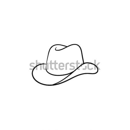 Cowboy hat hand drawn sketch icon. Stock photo © RAStudio