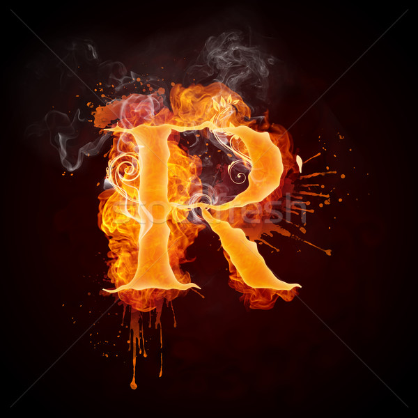 Fire Swirl Letter R Stock photo © RAStudio