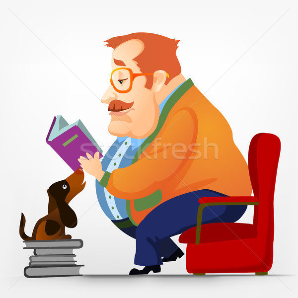 Vrolijk mollig mannen lezing eps Stockfoto © RAStudio