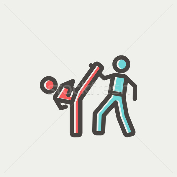 Karate fighters thin line icon Stock photo © RAStudio