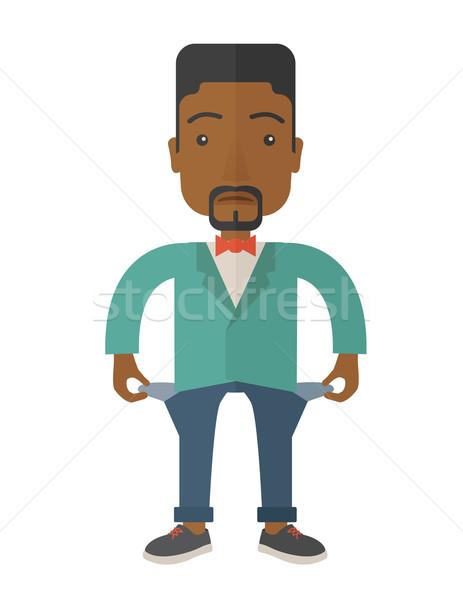 Africano empresário fracassado moço em pé ruim Foto stock © RAStudio