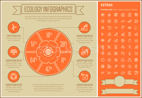 Stock photo: Ecology Line Design Infographic Template