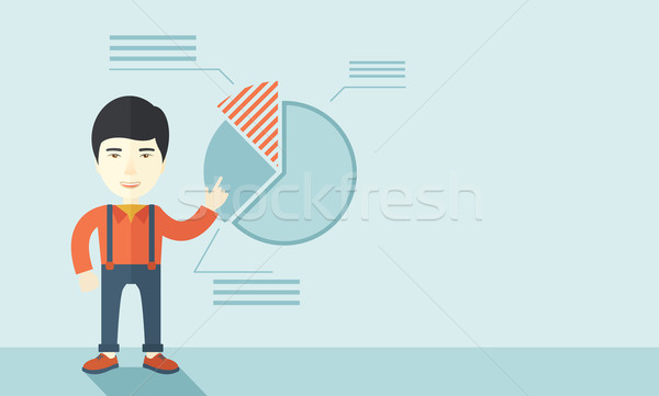 Young man with his financial pie chart. Stock photo © RAStudio