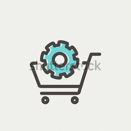 Shopping cart with gear thin line icon Stock photo © RAStudio